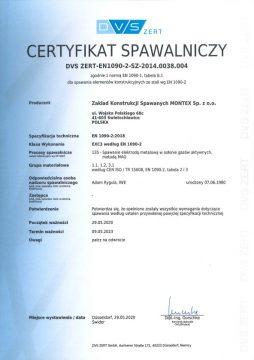 Certyfikat spawania elementów konstrukcji ze stali
