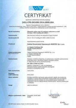 Certyfikat zgodności zakładowej kontroli produkcji
