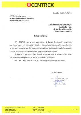 List referencyjny CENTEREX