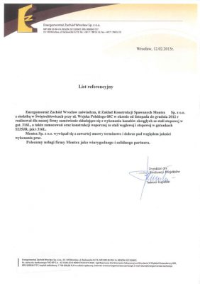 List referencyjny Energomontaż Zachód Wrocław Sp. z o.o.