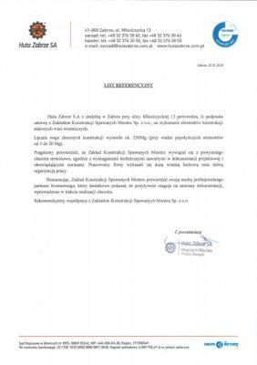 List referencyjny Huta Zabrze SA