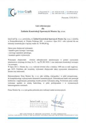 List referencyjny InterCraft