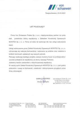 List referencyjny Von Schaewne Polska