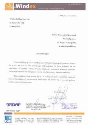 List referencyjny Windex