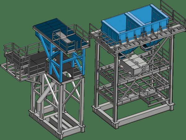 Konstrukcja wsporcza i zbiorniki wapna